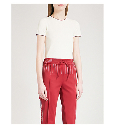 VALENTINO Contrast-trim knitted top (White