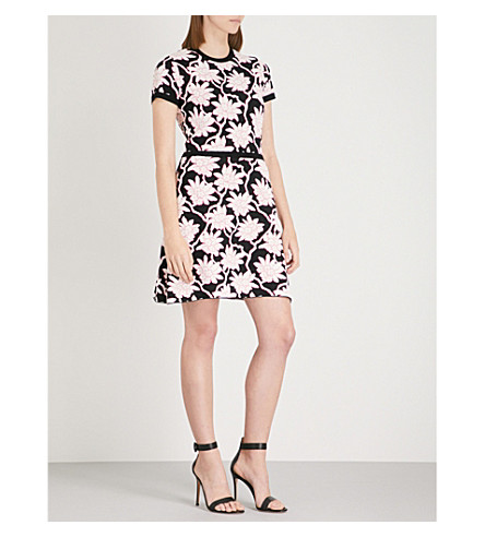 VALENTINO Floral jacquard-knit dress (Black+multi