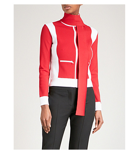 VALENTINO Contrast-panel knitted jacket (Red/+white