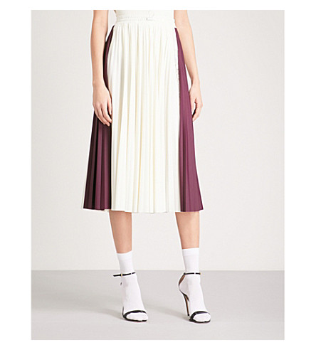 VALENTINO Pleated stretch-jersey midi skirt (White/burgundy