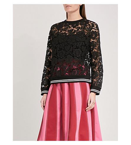VALENTINO Ribbed-trim lace sweatshirt (Black