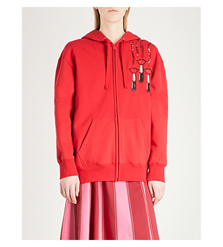 VALENTINO Lipstick-appliqué cotton-blend hoody (Red