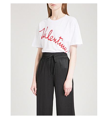 VALENTINO Lipstick Logo-print cotton-jersey T-shirt (White