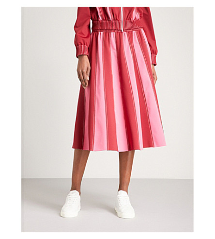 VALENTINO Striped woven midi skirt (Red/pink/white