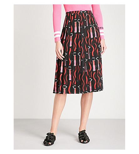 VALENTINO Lipstick-print silk midi skirt (Black+lipstick