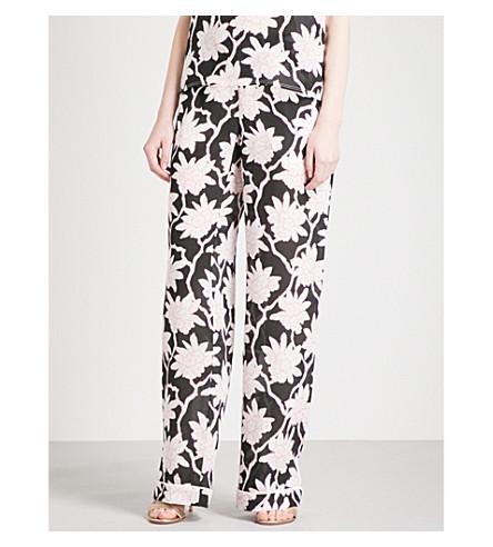 VALENTINO Floral-print silk-crepe pyjama trousers (Black+multi