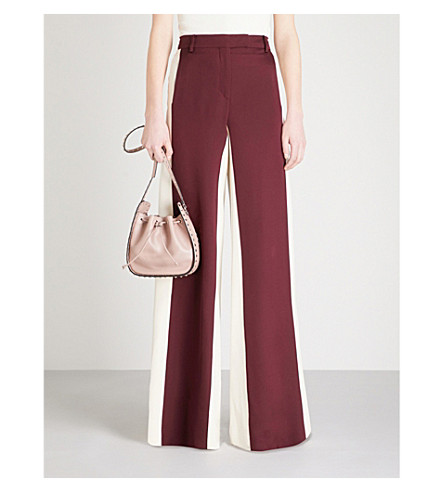 VALENTINO Bi-colour wide-leg silk trousers (Burgundy/white