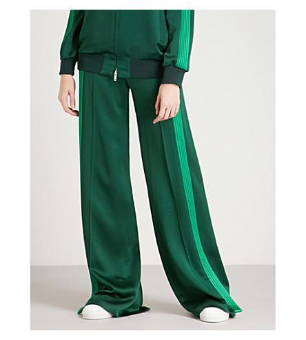 VALENTINO Side-stripe wide-leg satin-crepe trousers (Green/green