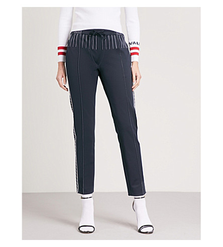 VALENTINO Striped straight crepe jogging bottoms (Navy