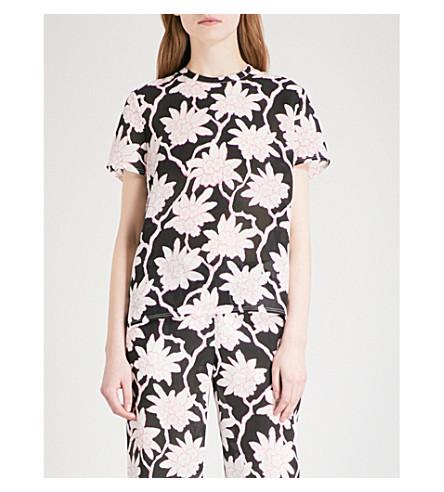 VALENTINO Rododendro-print silk-crepe top (Black+multi