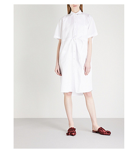 VALENTINO Panel-detail cotton shirt dress (White