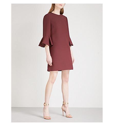 VALENTINO 小号-袖子羊毛和丝绸混纺迷你连衣裙 (勃艮第