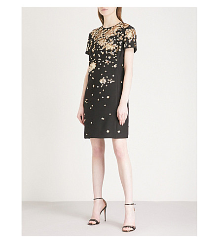 VALENTINO Floral sequin-embellished wool and silk-crepe dress (Black