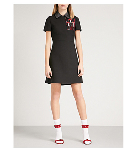 VALENTINO Lipstick-motif wool-and silk-blend dress (Black