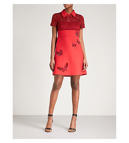 VALENTINO Butterfly-beaded wool and silk-blend dress (Red