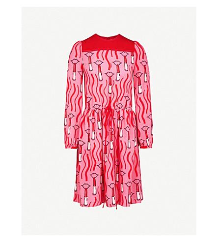 VALENTINO Lipstick-pattern silk dress (Red+lipstick