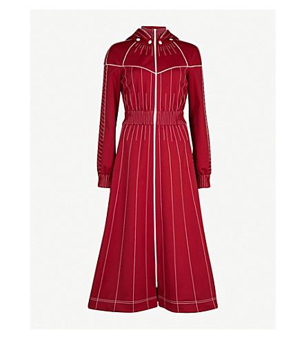 VALENTINO Hooded technical-jersey dress (Dark+red