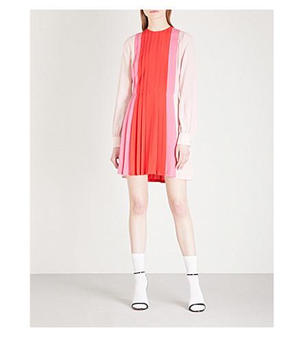VALENTINO Pleated-panel silk-crepe mini dress (Red/pink/white