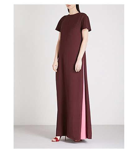 VALENTINO Godet-panel silk maxi dress (Burgundy