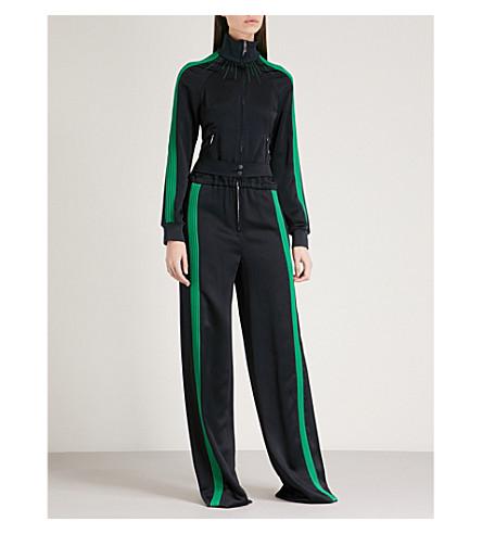 VALENTINO Striped-trim satin-crepe jumpsuit (Blue