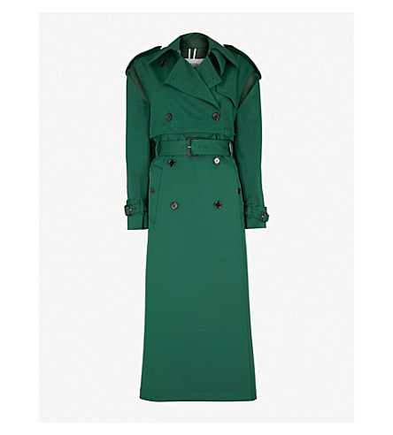 VALENTINO Cold-shoulder woven trench coat (Jungle+green