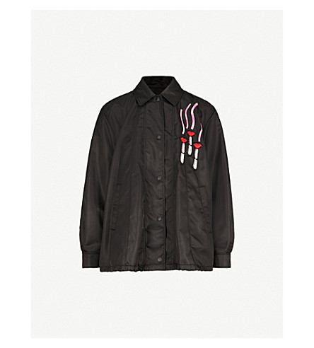 VALENTINO Lipstick logo-detail shell jacket (Black