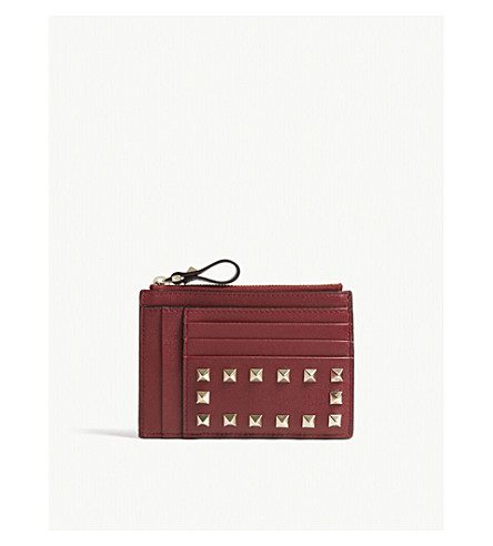 VALENTINO Rockstud leather card and coin pouch (Rubino