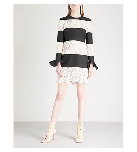 de y rayas con vestido lana mezcla blanco VALENTINO seda a encaje Negro de Mini q8BvAv