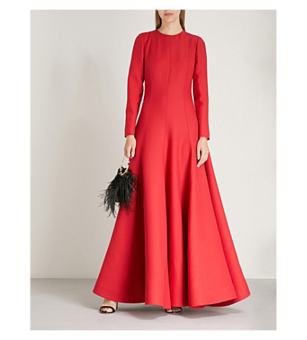 VALENTINO Flared wool and silk-blend gown (Rosso