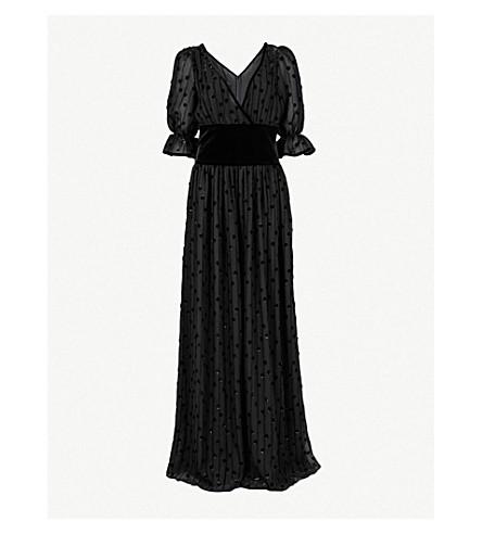 VALENTINO Polka dot chiffon and silk gown (Nero
