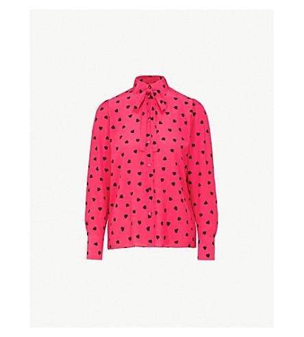 VALENTINO Heart-print silk-crepe shirt (Disco+pink