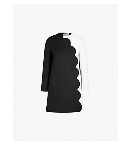 VALENTINO Scalloped monochrome wool and cashmere-blend coat (Nero+avorio
