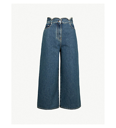 VALENTINO Scalloped-waist wide-leg mid-rise jeans (Blue+denim