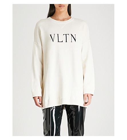 VALENTINO Logo-print knitted jumper (Avorio/nero