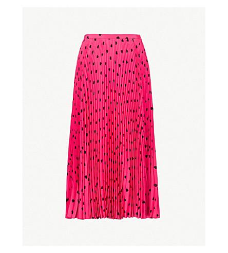 VALENTINO Heart-print pleated silk-crepe skirt (Disco+pink