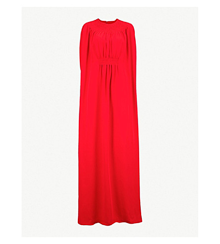 VALENTINO Bow-embellished silk-crepe gown (Rosso