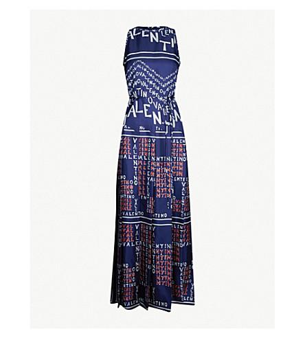 VALENTINO Logo-print silk-satin dress (Brick pure blue