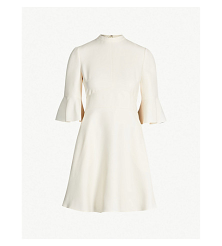 VALENTINO Flared wool and silk-blend dress (Ivory