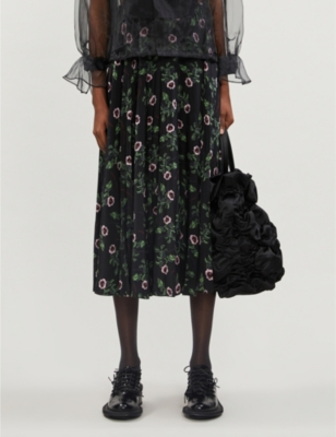 High-waist pleated floral-print silk midi skirt