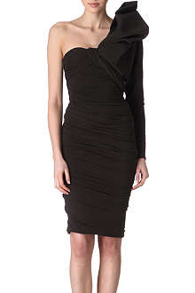 LANVIN Asymmetric ruched-sleeve dress