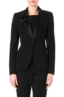 LANVIN Satin lapel and flower tuxedo jacket