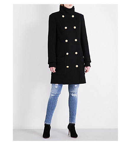 BALMAIN Double-breasted wool and cashmere-blend coat (Noir