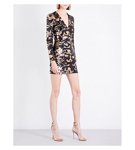 BALMAIN Camouflage sequinned mini dress (Brun/cuivre