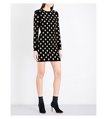 BALMAIN Crystal and eyelet-embellished velvet mini dress (Noir/+or