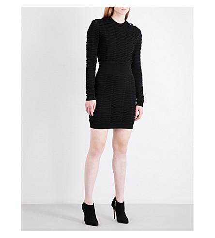 BALMAIN Pleated stretch-jersey mini dress (Noir