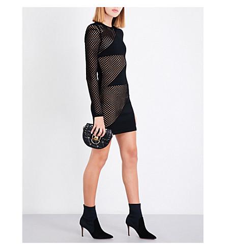 BALMAIN Zigzag mesh fitted mini dress (Noir