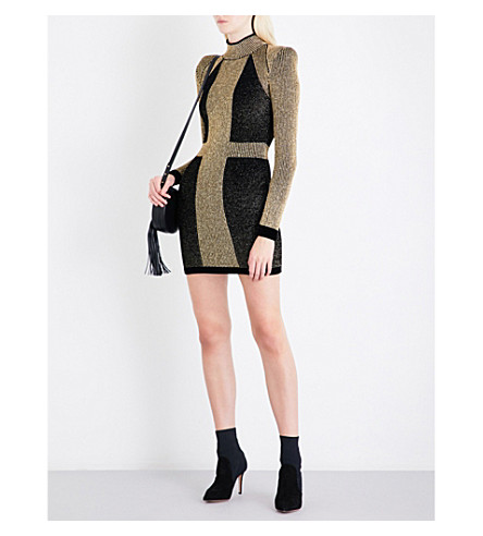 BALMAIN Turtleneck metallic-knit mini dress (Noir/+or