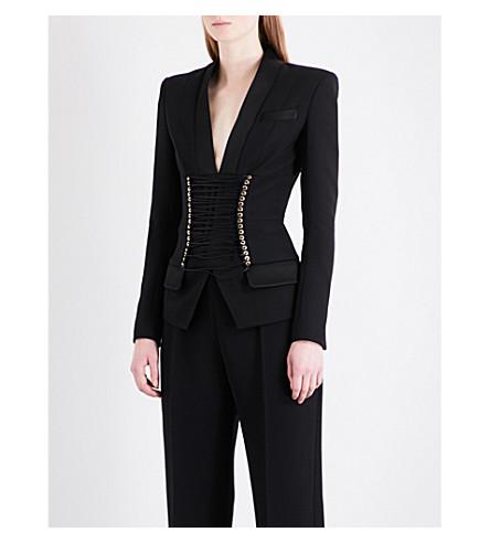 BALMAIN Lace-up corset wool top (Noir
