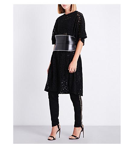 BALMAIN Distressed cotton-jersey dress (Noir