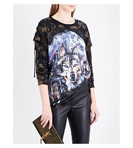 BALMAIN Wolf-print cotton-jersey top (Noisette+multicolore